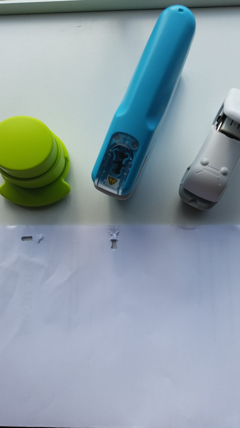 three staple-free staplers